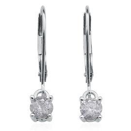 9K W Gold SGL Diamond (Rnd) (GH-I3) Lever Back Earrings 0.500 Ct.