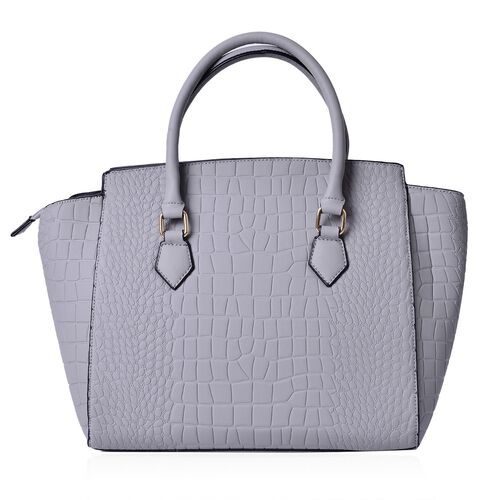 Crock Embossed Grey Colour Tote Bag (Size 43x29x14.5 Cm)