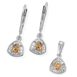 Citrine 0.65 Carat Trillion Pendant and Earrings in Platinum Overlay with Diamonds