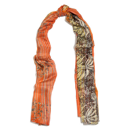 100% Mulberry Silk Orange, Yellow and Multi Colour Floral and Stripes Hand Screen Printed Scarf (Size 180X100 Cm)