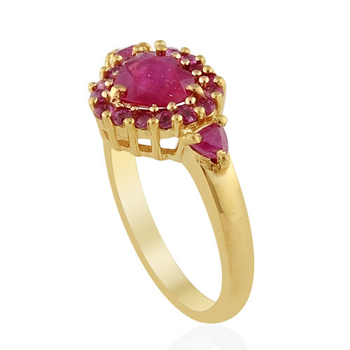 African Ruby (1.25 Ct) Burmese Ruby 14K Gold Overlay Sterling Silver Ring  2.005 Ct.