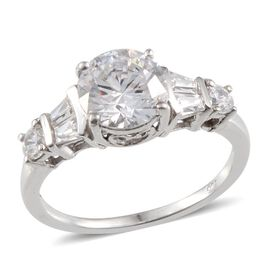 J Francis - Platinum Overlay Sterling Silver (Rnd) Ring Made with SWAROVSKI ZIRCONIA 2.580 Ct.