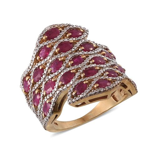 Burmese Ruby (Ovl), Diamond Ring in 14K Gold Overlay Sterling Silver 4.520 Ct.