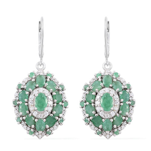 Brazilian Emerald (Ovl), Natural Cambodian Zircon Lever Back Earrings in Platinum Overlay Sterling Silver 5.000 Ct.