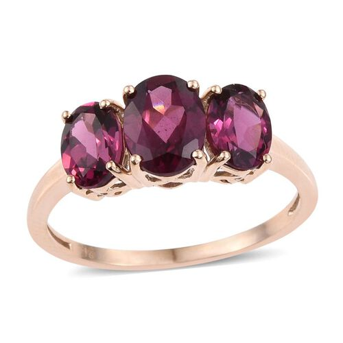 9K Y Gold Rare Mozambique Grape Colour Garnet Trilogy Ring 3.50 Ct.