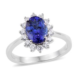 RHAPSODY 950 Platinum AAAA Tanzanite (Ovl 2.40 Ct), Diamond Ring 2.850 Ct.