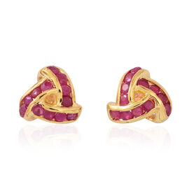 AA Burmese Ruby (Rnd) Triple Knot Stud Earrings (with Push Back) in 14K Gold Overlay Sterling Silver 1.250 Ct.
