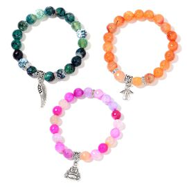 Set of 3 - Agate and Green Agate Wing, Angel and Laughing Buddha Charm Stretchable Bracelet in Black Tone 415.000 Ct.