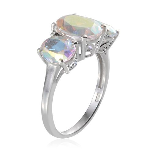 Mercury Mystic Topaz (Ovl 2.75 Ct) 3 Stone Ring in Platinum Overlay Sterling Silver 5.500 Ct.