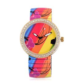 STRADA Japanese Movement Pink Colour Butterfly Pattern Multi Colour Dial with White Austrian Crystal Water Resistant Watch in Gold Tone with Stainless Steel Back and Oil Print Stretchable Strap