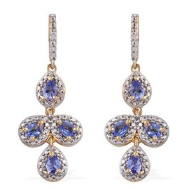 Tanzanite (Pear), Diamond Earrings (with Push Back) in 14K Gold Overlay Sterling Silver 1.000 Ct.