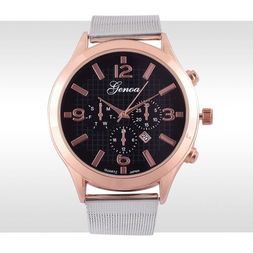 GENOA Japanese Movement Black Dial Water Resistant Watch in Rose Gold Tone with Stainless Steel Back and Chain Strap