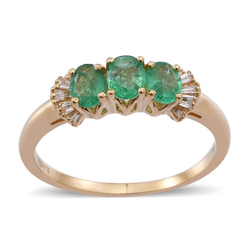 ILIANA 18K Y Gold Kagem Zambian Emerald (Ovl), Diamond Ring 1.150 Ct.