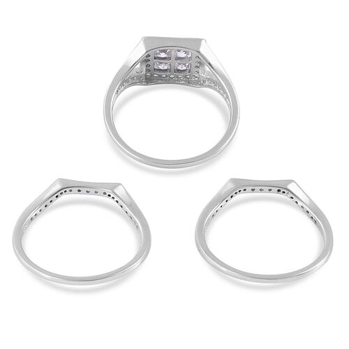 AAA Simulated White Diamond 3 Ring Set in Platinum Overlay Sterling Silver