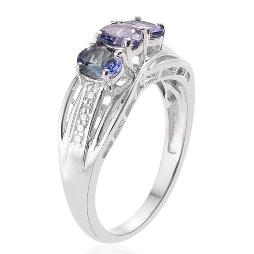 Bondi Blue Tanzanite (Ovl), Diamond Ring in Platinum Overlay Sterling Silver 1.010 Ct.