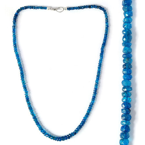 Malgache Neon Apatite Beads Necklace (Size 18) in Sterling Silver 60.380 Ct.