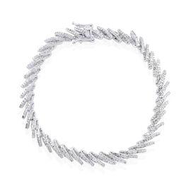 Diamond (Rnd) Bracelet (Size 8) in Platinum Overlay Sterling Silver 2.000 Ct.