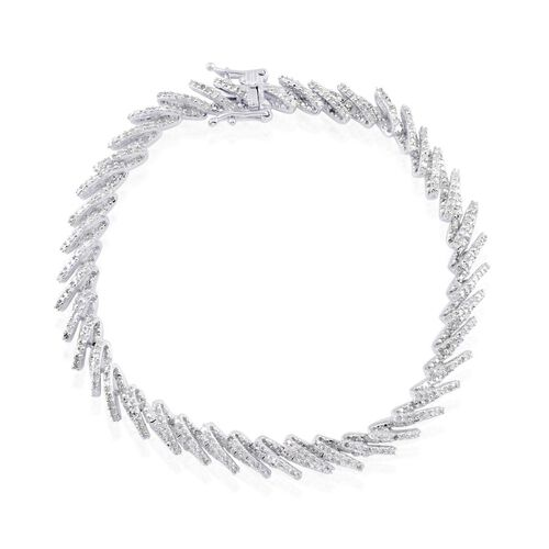 Diamond (Rnd) Bracelet (Size 8) in Platinum Overlay Sterling Silver 2.000 Ct.