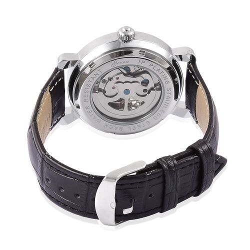 GENOA Automatic Skeleton White Dial Water Resistant Watch in Silver Tone with Black Colour Strap