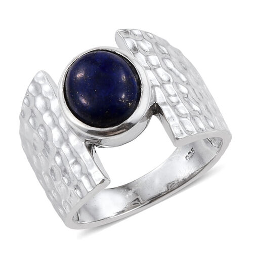 Lapis Lazuli (Ovl) Solitaire Ring in Platinum Overlay Sterling Silver 3.000 Ct.