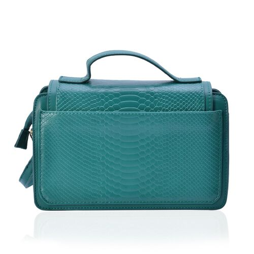 Chelsea Snake Embossed Green Colour Crossbody Bag with Adjustable and Removable Shoulder Strap (Size 25x17x7.5 Cm)