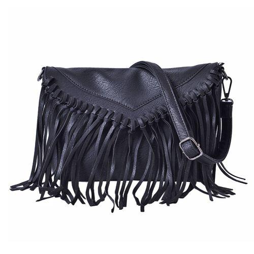 Black Colour Crossbody Bag with Fringes and Adjustable, Removable Shoulder Strap (Size 26x18 Cm)
