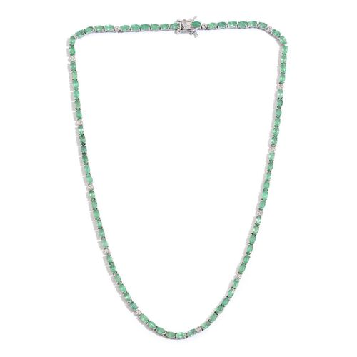 AAA Kagem Zambian Emerald (Ovl), Diamond Necklace (Size 18) in Platinum Overlay Sterling Silver 20.820 Ct.