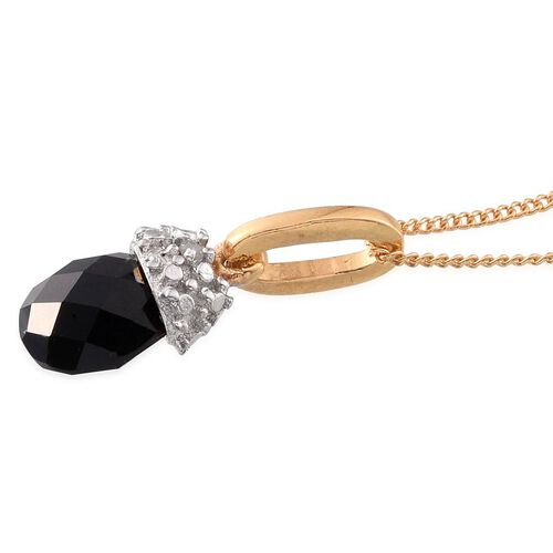 Briolitte Cut Black Onyx and Diamond Pendant With Chain in 14K Gold Overlay Sterling Silver 1.520 Ct.