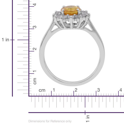 Yellow Sapphire (Ovl 1.75 Ct), Natural Cambodian White Zircon Ring in Rhodium Plated Sterling Silver 2.500 Ct.