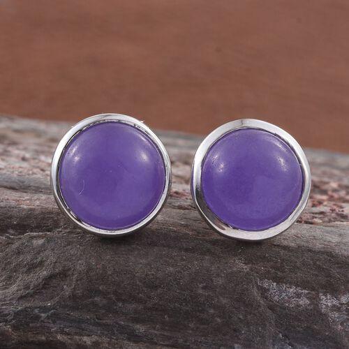 Purple Jade (Rnd) Stud Earrings (with Push Back) in Platinum Overlay Sterling Silver 9.000 Ct.