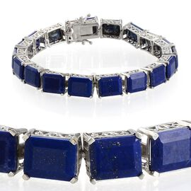 Lapis Lazuli (Oct) Bracelet (Size 7.5) in Platinum Overlay Sterling Silver 49.500 Ct.