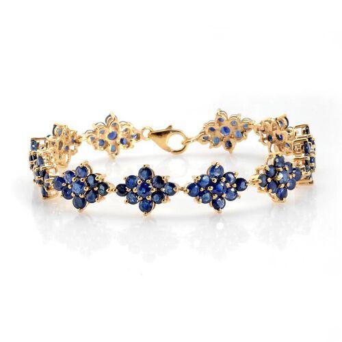 Kanchanaburi Blue Sapphire (Rnd) Bracelet in 14K Gold Overlay Sterling Silver (Size 7.5) 15.750 Ct.