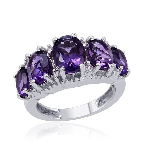 Uruguay Amethyst (Ovl 1.00 Ct), White Topaz Ring in Platinum Overlay Sterling Silver 3.250 Ct.