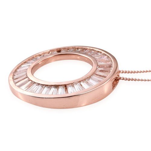 J Francis - Rose Gold Overlay Sterling Silver (Bgt) Circle Pendant With Chain Made with SWAROVSKI ZIRCONIA