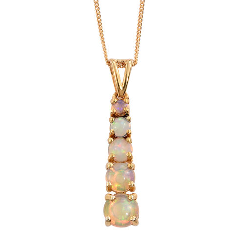 Ethiopian Welo Opal (Rnd) 5 Stone Pendant With Chain in 14K Gold Overlay Sterling Silver 1.250 Ct.