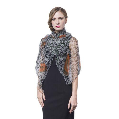 40% Mulberry Silk Black, Orange and Multi Colour Leopard Pattern Scarf (Size 170X105 Cm)