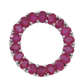 African Ruby (Ovl) Circle of Life Pendant in Rhodium Plated Sterling Silver 8.000 Ct.