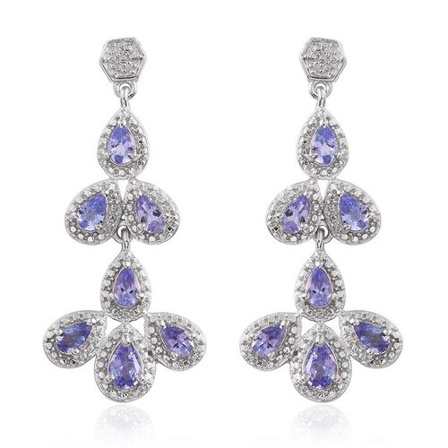 Tanzanite (Pear), Diamond Earrings (with Push Back) in Platinum Overlay Sterling Silver 3.020 Ct.