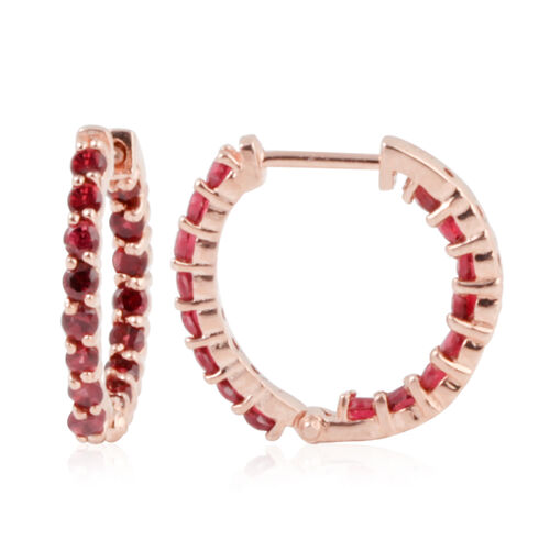 Mahenge Spinel (Rnd) Hoop Earrings in Rose Gold Overlay Sterling Silver 1.500 Ct.