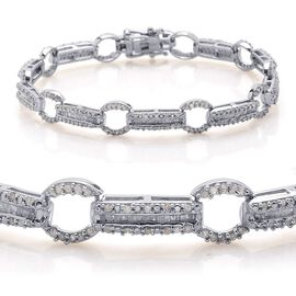 Diamond (Bgt) Bracelet in Platinum Overlay Sterling Silver (Size 8.25) 2.000 Ct.