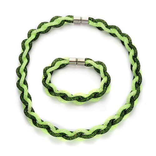 Green Woven Sparkling Mesh Necklace (Size 20) and Bracelet (Size 7) Set