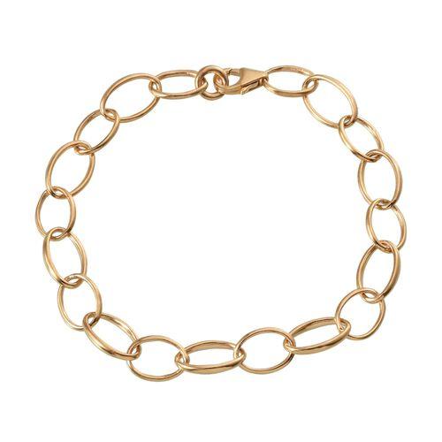 14K Gold Overlay Sterling Silver Link Bracelet (Size 7.5), Silver wt 6.92 Gms.