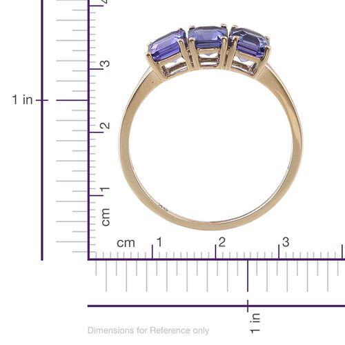 9K Y Gold Asscher Cut Tanzanite (Oct) Trilogy Ring 2.000 Ct.