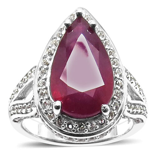 African Ruby (Pear 5.35 Ct), White Topaz Ring in Rhodium Plated Sterling Silver 6.000 Ct.