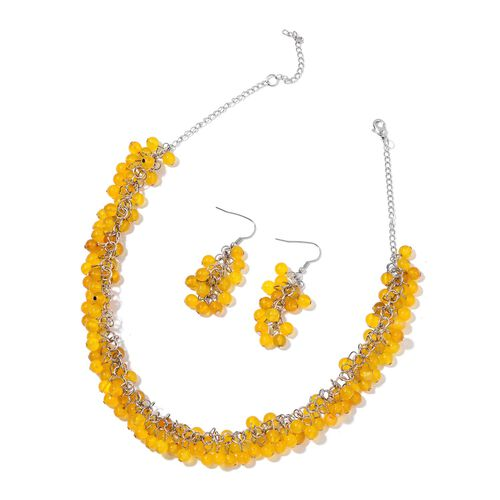 Yellow Agate Necklace (Size 18 with 2 inch Extender) and Hook Earrings in Silver Tone 335.000 Ct.