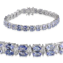 AA Tanzanite (Ovl), White Topaz Bracelet in Platinum Overlay Sterling Silver (Size 8) 17.500 Ct.