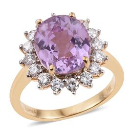 ILIANA 18K Y Gold AAAA Brazilian Kunzite (Ovl 5.50 Ct), Diamond (SI/G-H) Ring 6.500 Ct.