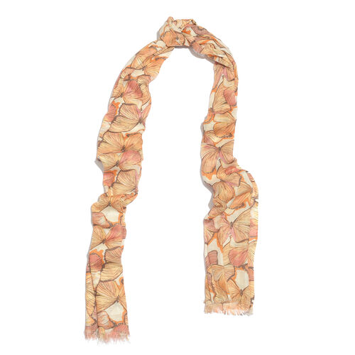 Yellow and Multi Colour Butterfly Pattern Scarf (Size 180x70 Cm) with Matching Set of 5 Bangles (Size 8) in Gold Tone