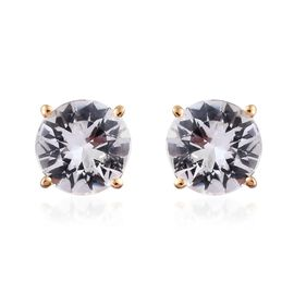 ILIANA 18K Yellow Gold 1.25 Carat AAA Natural White Sapphire Round Solitaire Stud Earrings with Screw Back.