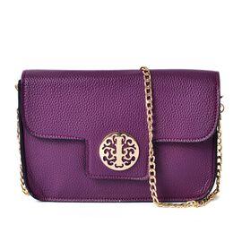 Purple Colour Crossbody Bag with Chain Strap (Size 21x14x4 Cm)